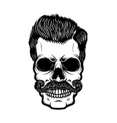 Hipster skull with hairstyle design element for vector