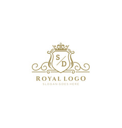 Initial sd letter luxurious brand logo template vector