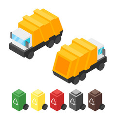 Isometric garbage truck vector