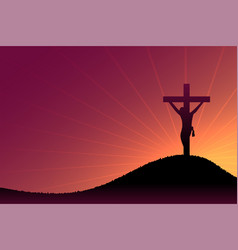 Jesus christ crucifixion scene on dusk and sun vector