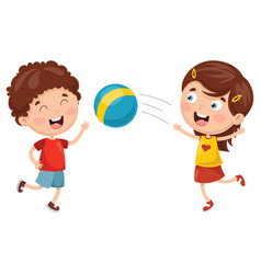 Kids playing with ball vector