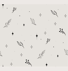 Line floral seamless pattern with stars vector