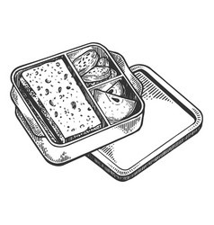 Lunchbox with food engraving vector