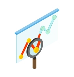 Magnifier and graph icon isometric 3d style vector
