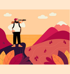 Man with backpack and spyglass traveller vector