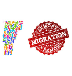 Migration composition of mosaic map of vermont vector