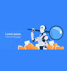modern robot hold magnifying glass data search vector image