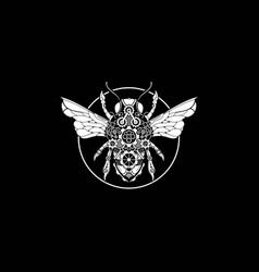 Monochrome steam punk bee vector
