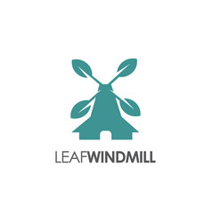 nature windmill logo with leaves icon vector image