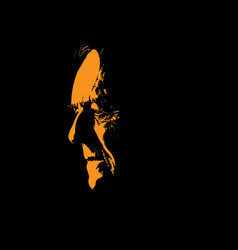 Old man portrait silhouette in contrast backlight vector