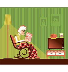 Old woman sitting and reading newspaper vector