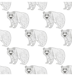 panda seamless pattern freehand ethnic sketch vector image