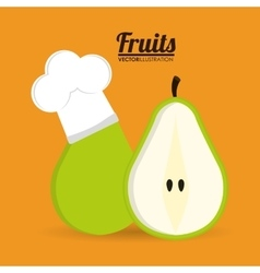 Pear fruit with chefs hat design vector