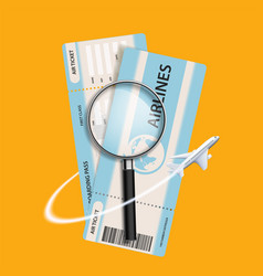plane flies around air ticket and a vector image