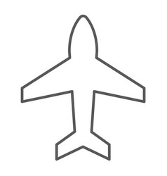 plane thin line icon aircraft and jet airplane vector image