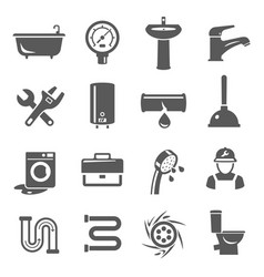 plumbing icon set service and professional vector image