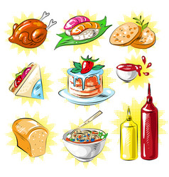 Pop art comic style food patches set vector
