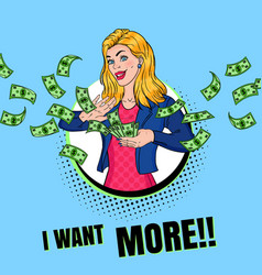 pop art rich woman throwing dollar banknotes vector image
