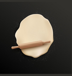 Raw dough flattened with wooden roller realistic vector