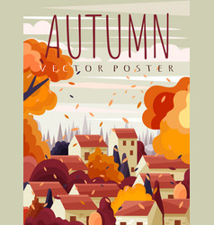 Red roofed houses in a town in autumn vector