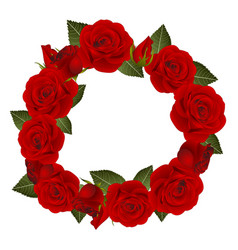 red rose flower wreath vector image