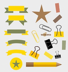 Ribbons Set pencil paperclip and sticker vector image