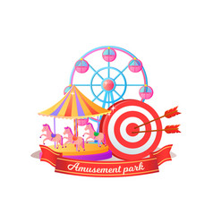 round attraction with horses or cabins vector image