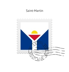 Saint-martin flag postage stamp vector