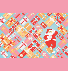 santa claus with bunch of colorful gifts box vector image