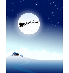 Santa sleigh on mountain in Christmas Night vector image