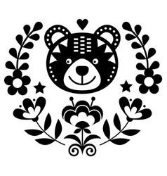 scandinavian bear folk art round pattern vector image