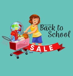 School shopping with mom poster with logo vector