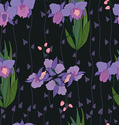 Seamless iris pattern in black vector image
