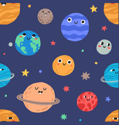 seamless pattern with cute childish planets with vector image