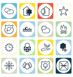 Set 16 eco-friendly icons includes sun clock vector