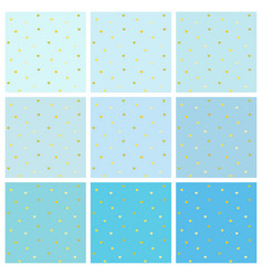 set of blue backgrounds with small gold hearts vector image