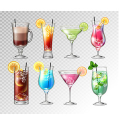 Set of realistic cocktails vector