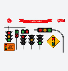 set of realistic traffic light vector image