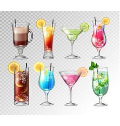 set realistic cocktails vector image