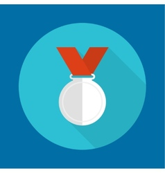 Silvermedal with red ribbon vector image