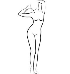 Sketch nude woman vector