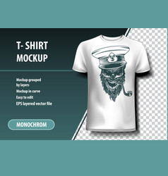 skull captain with a pipe t-shirt template fully vector image