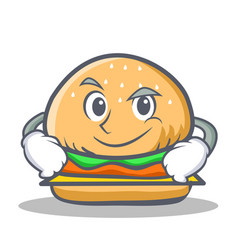 Smirking burger character fast food vector