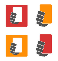 soccer yellow and red card icons set vector image