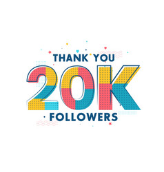 Thank you 20k followers celebration greeting card vector
