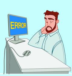 Tired man with a beard calmly looks at a mistake vector