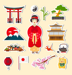traditional japanese symbols vector image