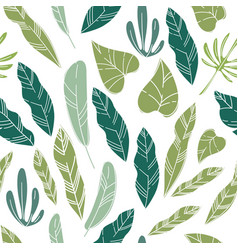 tropical leafage and foliage exotic plants pattern vector image