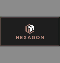 uh hexagon logo design inspiration vector image