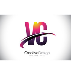 Vc v c purple letter logo with swoosh design vector